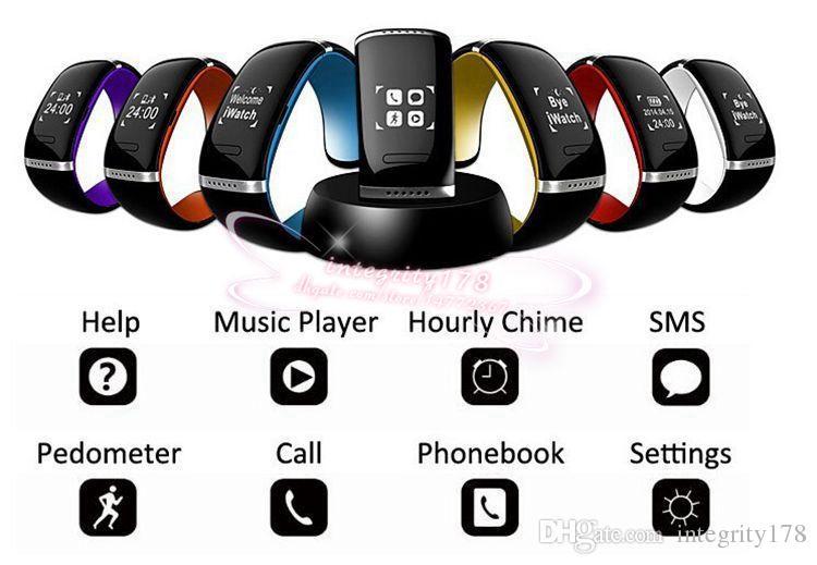 Vente L12S OLED Écran tactile Bluetooth Bracelet Montre-Bracelet Smart Watch pour IOS iPhone Samsung et Android Appel téléphonique Réponse / SMS Rappelant
