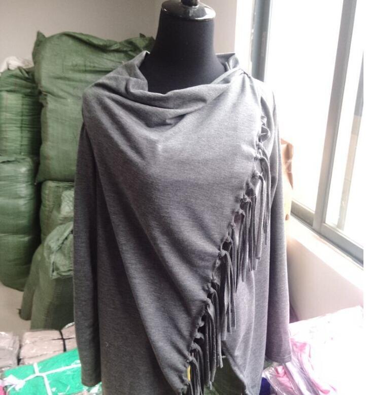 2016 New Arrivals Women Coat Long Sleeve Knitted Cardigan Cotton Blended Sweater Outwear Asymmetric Classic Tassel Slash Womens Jacket Coats