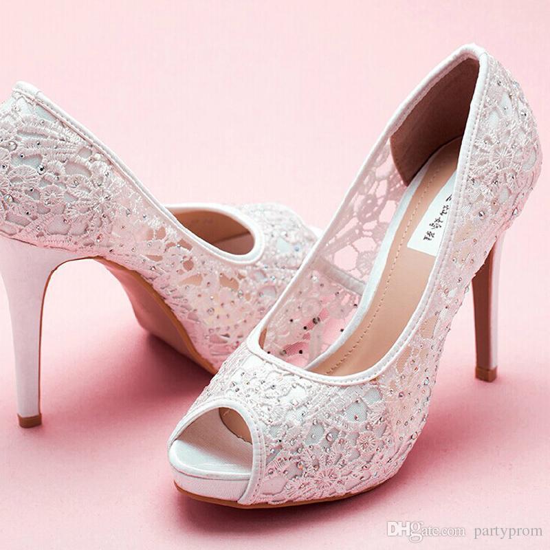 cc725f9712d Lace Peep Toe High Heels Rhinestone Bridal Shoes Woman Platforms Ivory  Party Prom Pump Bridesmaid Shoes Free Shipping