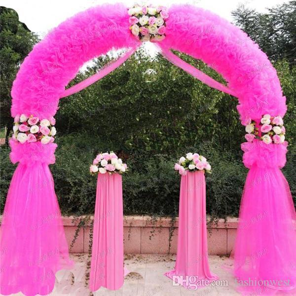 Arche de mariage Décorations de mariage Props Way Garden Quin 2.5 m * 2.5 m Eanera Party Fleurs Ballon Décoration Blanc Métal Dépenser Circulaire Arch Doo