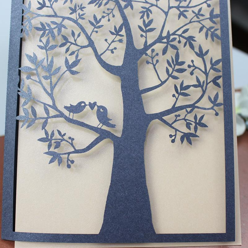 Laser cutting holiday cards blue cuntry tree love birds invitation card thank you card custom made
