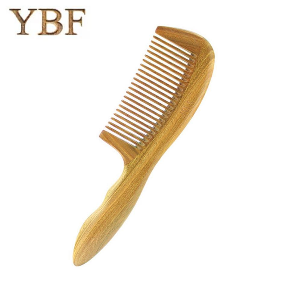 YBF For Hair Growth Products Green Sandalwood Wooden Combs Wedding Barber Brosse Lisseur Wood Massage Beard Knife Hairbrush