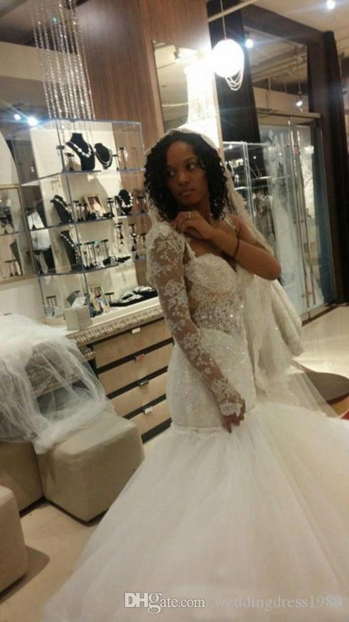 Bling Mermaid Backless Spaghetti Brautkleider Spitze Tüll Pailletten Perlen Plus Größe Afrikanisches Land Bridal Kleid Zug Braut Kleid Benutzerdefiniert