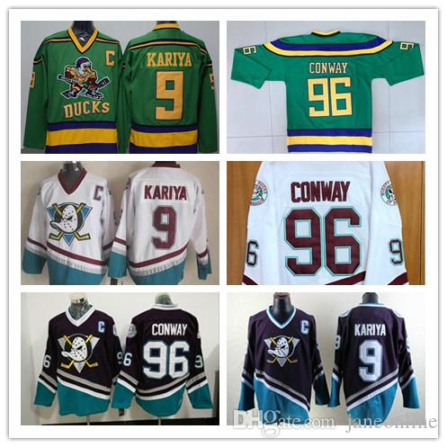 102115416 2019 100% Stitched Mighty Ducks Vintage #96 Charlie Conway Hockey Jersey  CCM Movie Jersey Conway Green White Purple #9 Paul Kariya Jersey From  Janeonline, ...
