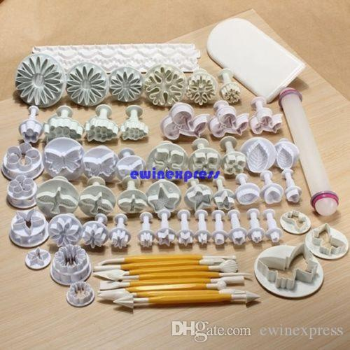 68 pz / set Cake Decorating tools set Sugarcraft Biscotti Fondente Cake Cutters Plunger Stamp + Modeling + smooth + + bordo Strumenti di decorazione