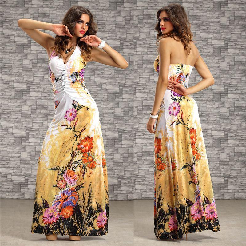 M Xxl Plus Size 2015 New Summer Dress Women Halter Floral Printed