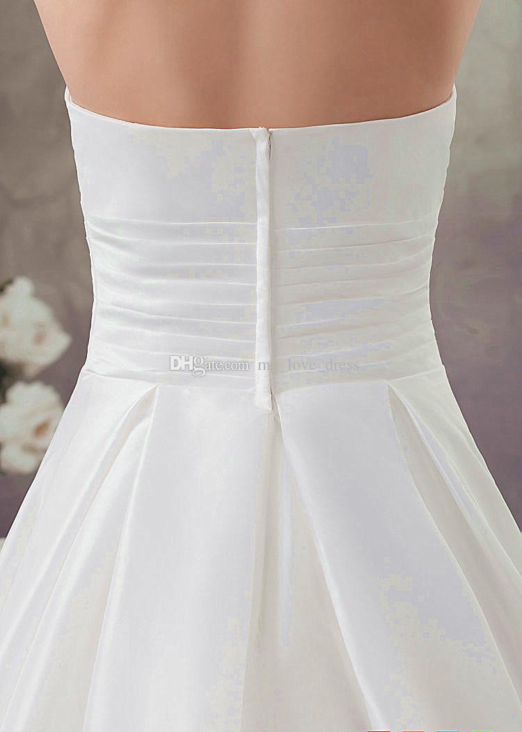 Design populaire élégant jardin une ligne robe de mariée en satin perles sans bretelles froncé robe de mariée fermeture éclair train