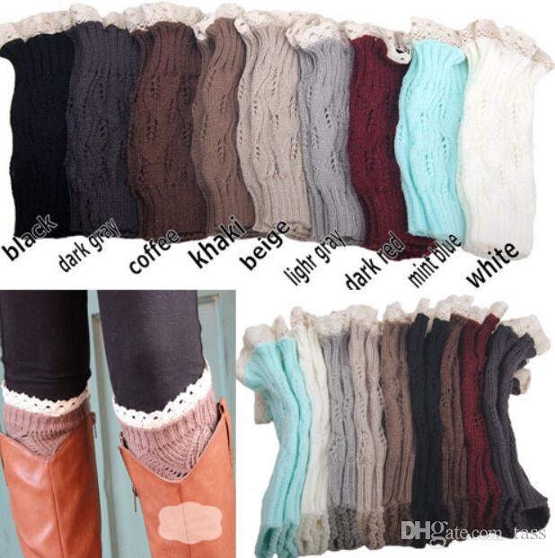 Großhandel 9 Farbenfrauen Häkeln Spitzenstiefelstulpen Handgemachtes