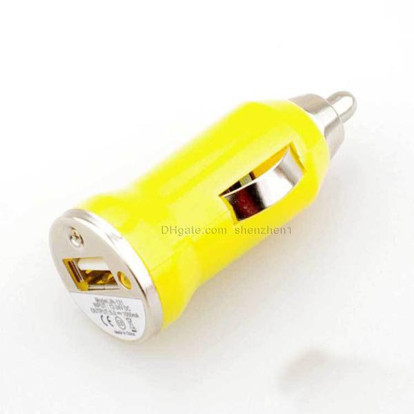 Universal Bullet Mini USB Car Charger Adapter for iphone 5 4 4S 6 Sumsang Cell Phone PDA MP3 MP4 player mobile i9500 s3 mful CAB017