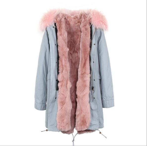 casacos de neve marca Jazzevar pêlo cinza coelho branco alinhou cáqui longo jaquetas com zíper YKK pele branca aparar parka longo inverno