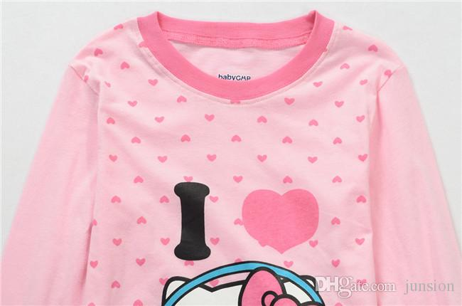 Gilrs Set With Printed Hello Kitty Baby Girls Pajamas Long Sleeve For Girls Set Children Clothing Sport Sets Two Pieces 2015 New Autumn