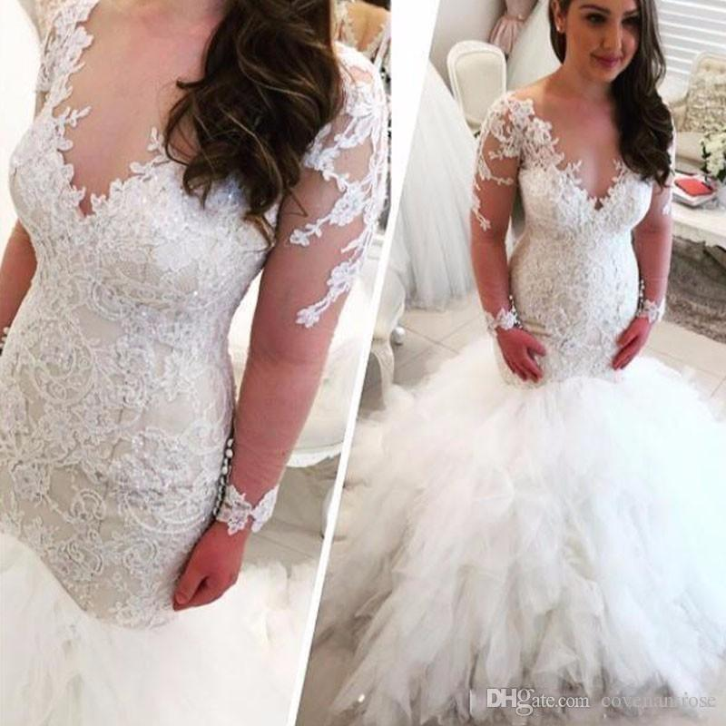 2017 Sexy Vestido De Noiva Sheer Neck Lace Long Sleeve Mermaid Wedding Dresses New Fashion Tulle Tiered Plus Size Wedding Dress