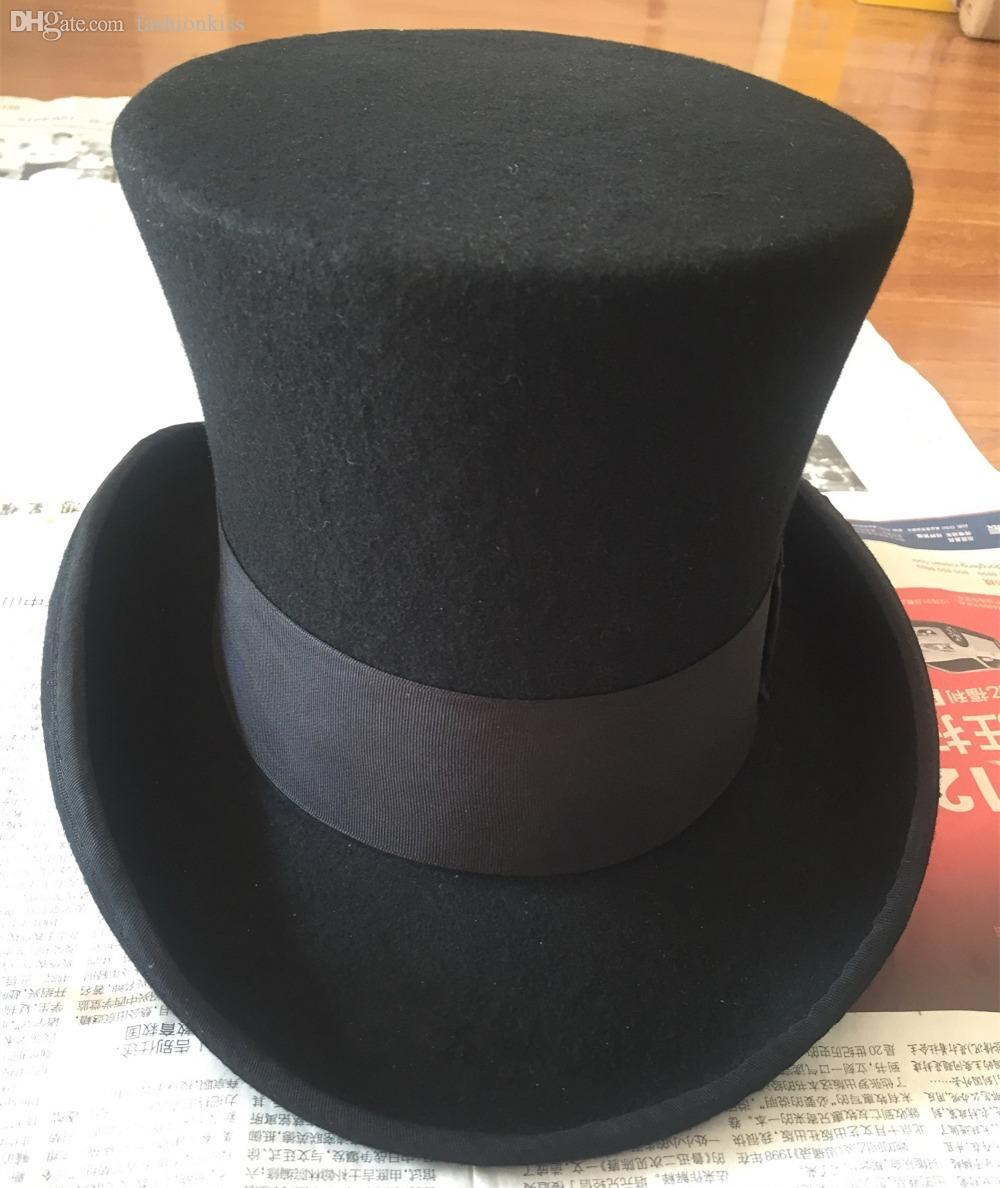 ff9aedfd465 2019 Wholesale 18.0cm7.1inch Wool High Top Hat  Uncle Sam Magician Stove  Pipe Beaver Hat   Gun Rose Slash Sherlock Hat From Fashionkiss