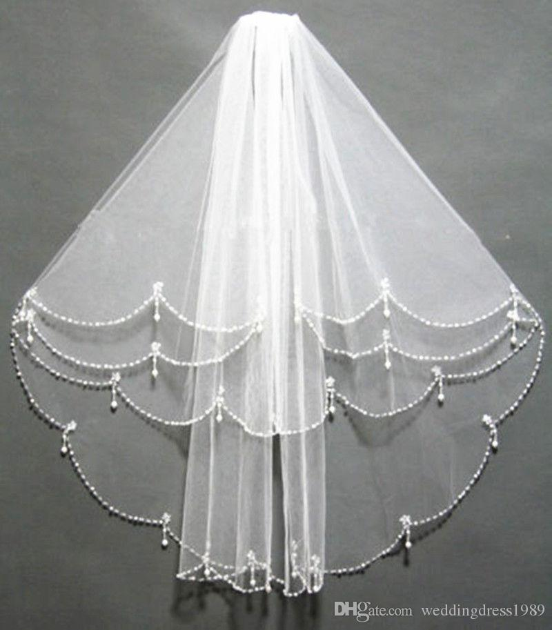 Beautiful Beads Fours Layers Bridal Veils With Comb Sequins Tulle Cheap Wedding Veil Wedding Accessory In Stock