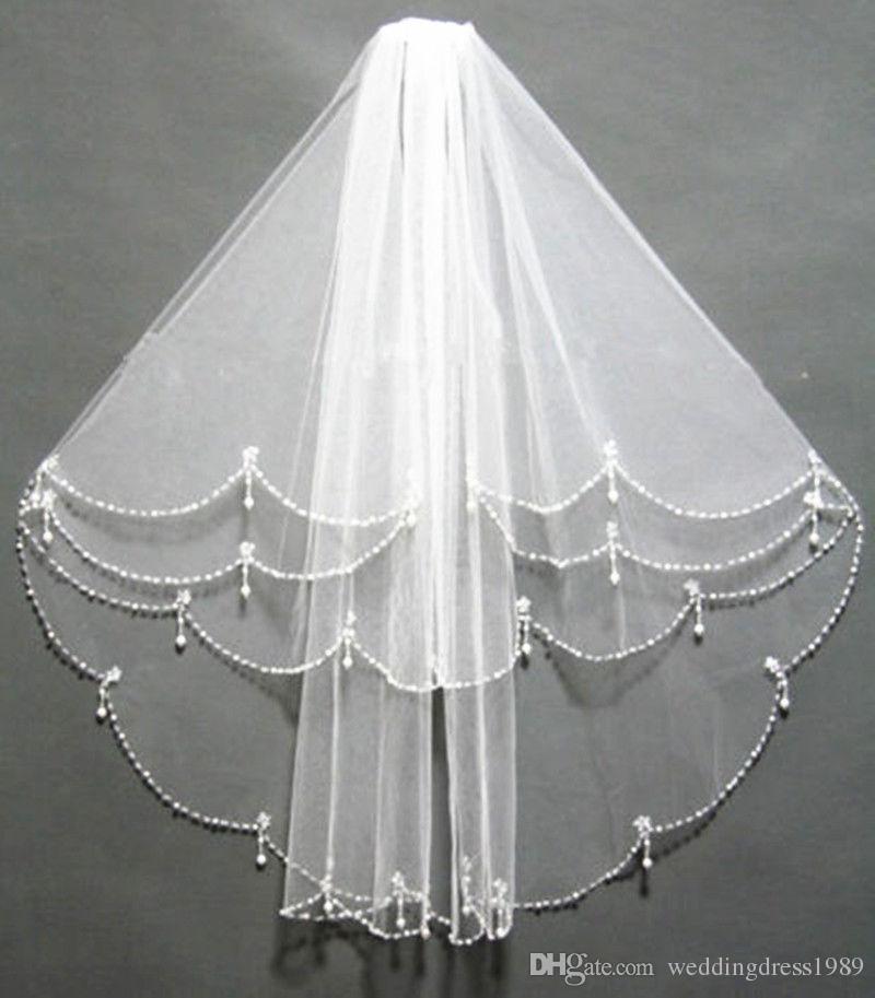 Schöne Perlen Fours Schichten Brautschleier Mit Kamm Pailletten Tüll Günstige Hochzeit Schleier Hochzeit Zubehör Kostenloser Versand Auf Lager