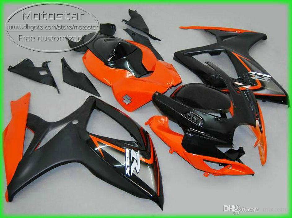 Plastic motobike set for SUZUKI GSXR600 GSXR750 2006 2007 K6 fairing kit GSXR600/750 06 07 orange black fairings set NS71