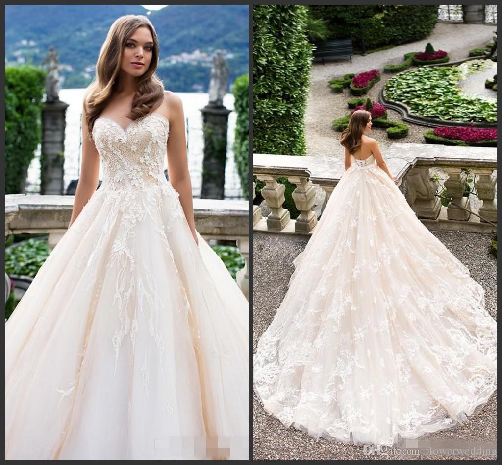 New White Tull Sweetheart Ball Gown Wedding Dresses 2018 Vestido De ...