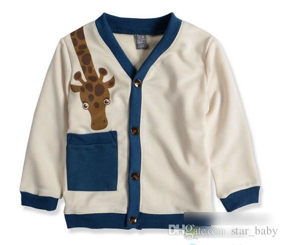 Hot 2015 Primavera Crianças Meninos de Algodão Cardigan Coats Dos Desenhos Animados Girafa Bebê de Manga Longa Botões Bolso Crianças Outwears Criança Roupas Bege L2470