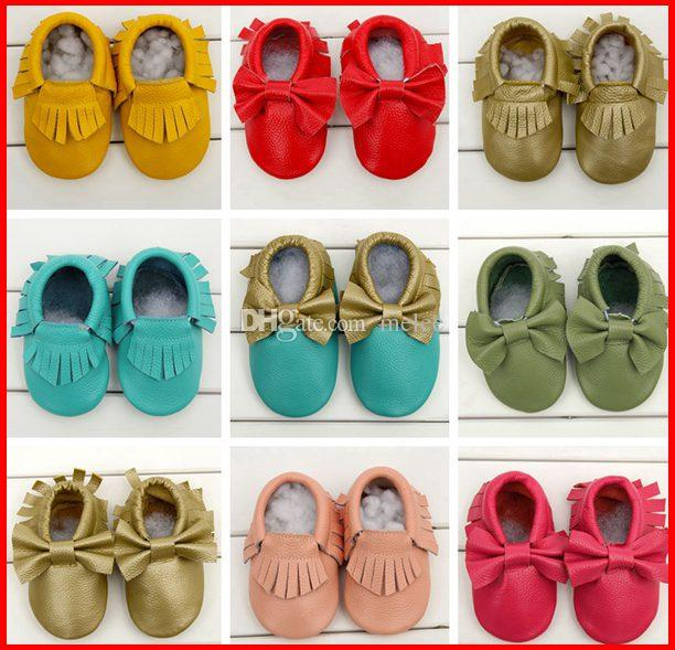 d24ae10a8b8c0 2015 Newest girls bows moccs Baby moccasins soft sole moccs genuine leather  prewalker booties toddlers infants fringe bow cow leather shoes