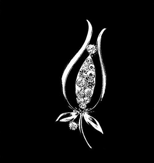 ! Wholesale Rhodium Silver Plated Clear Crystal Rhinestone Small Size Leaf Brooches and Pins Gift