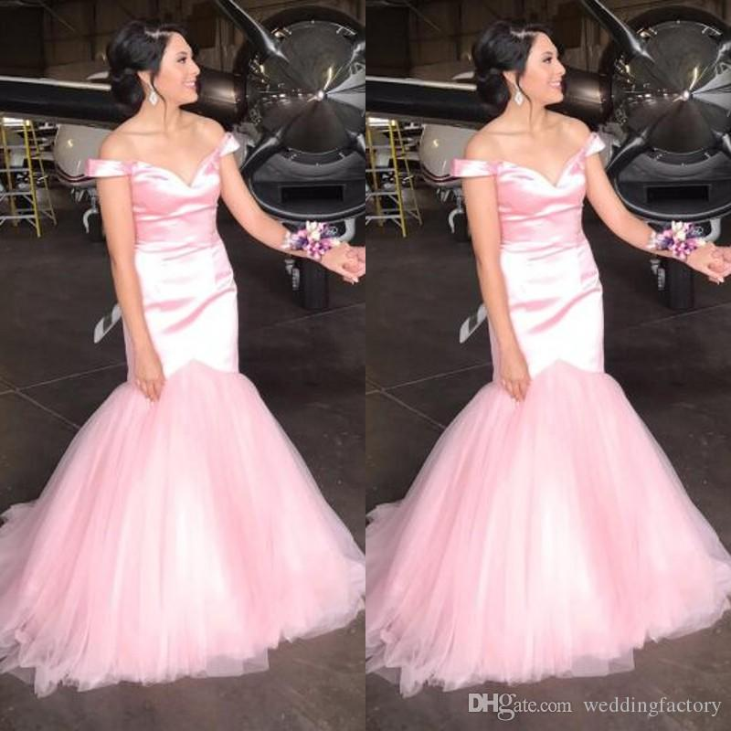 Light Pink Off The Shoulder Prom Dress Mermaid Fit And Flare Prom ...