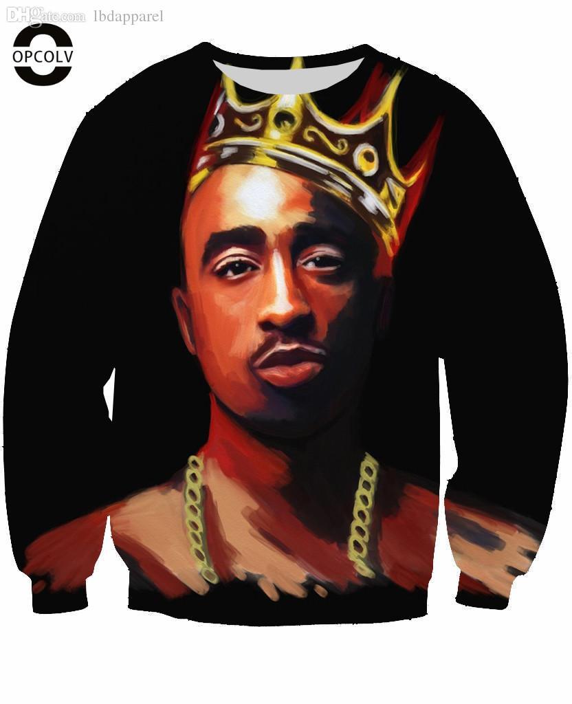 8f846bc24c2 2019 Wholesale OPCOLV Fashion Men Women Punk 3D Sweatshirts Print Biggie  Smalls Tupac 2pac Pullover Hoodies Casual 3d Hiphop Star Sweatshirt From  Lbdapparel ...