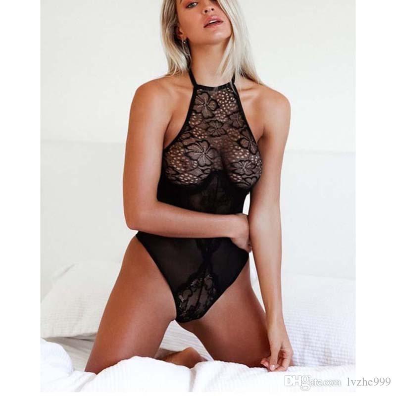 17fd58935c6dc Compre New Sexy Mulheres Lace Transparente Halter Bodysuit Collant Lingerie  Underwear Macacão 4 Tamanho De Lvzhe999