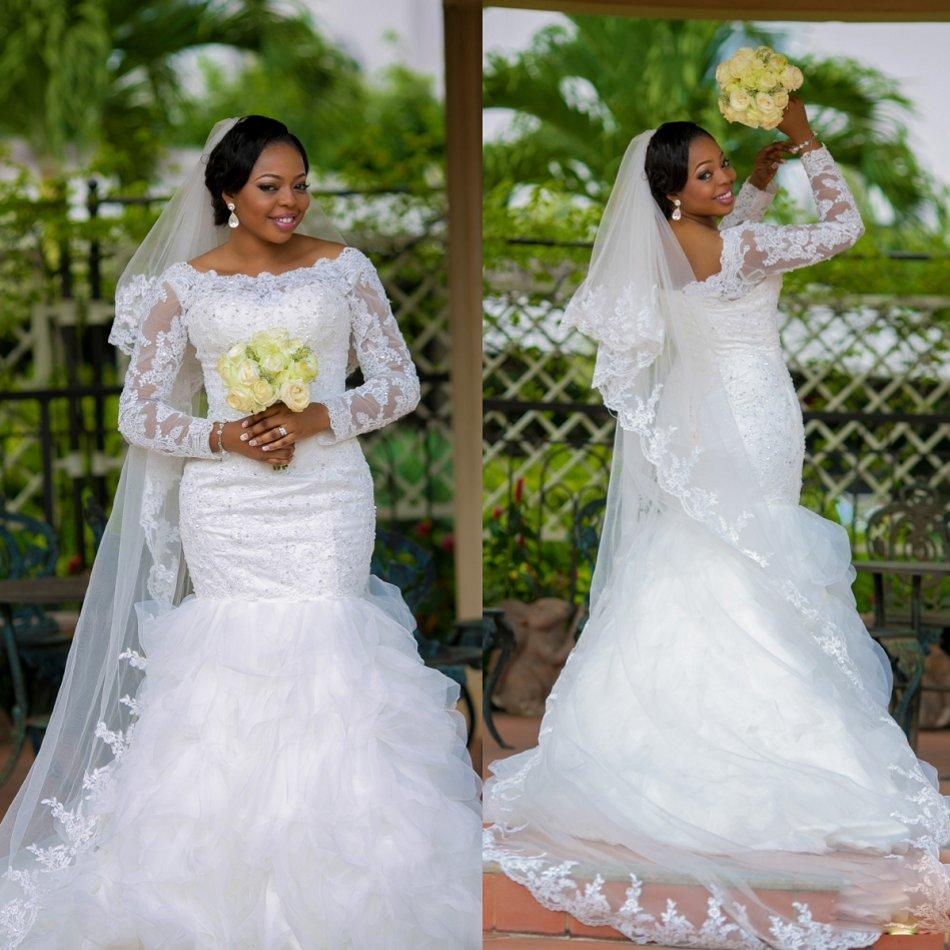 2015 Spring Plus Size Wedding Dresses Mermaid Long Sleeve Lace Organza Bridal Gowns Scoop Neck Custom Made