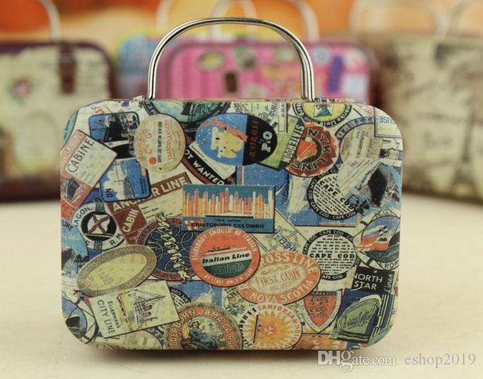 rétro valise boîte de bonbons amour doux cadeau de fête de mariage bijoux plaque d'étain boîtes Mix 6 Style New
