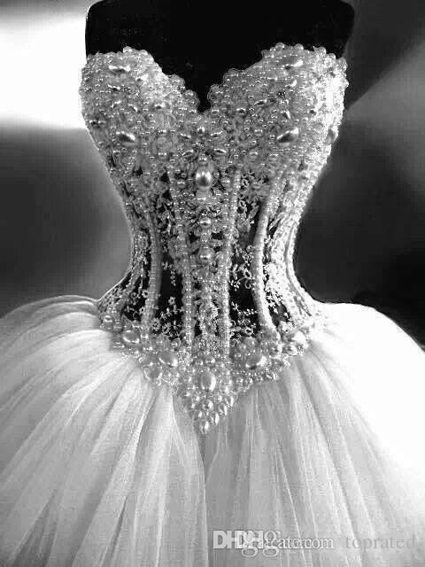 2019 Ballkleid Brautkleider Schatz Korsett Durchsichtig Bodenlangen Prinzessin Brautkleider Perlen Spitze Perlen Nach Maß