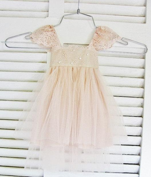bd43024751e1 ... Flower Girl Dress French Lace And Silk Tulle Dress For Baby Girl Blush Princess  Dress Blush Tutu Flower Girl Dress Cheap Flower Girl Dress Patterns Free ...
