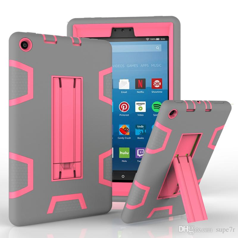 For Kindle Fire HD 8 Tablet PC Case Child Resistant PC Silicone Scratch  Shockproof Case Kindle Fire 7 Back Cover Case