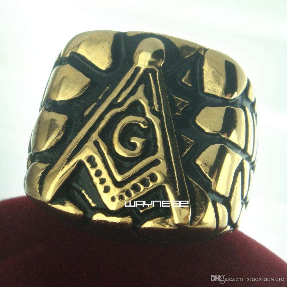 r254 масонское кольцо из нержавеющей стали золото заполнены свадьба топ размер партии 9-12