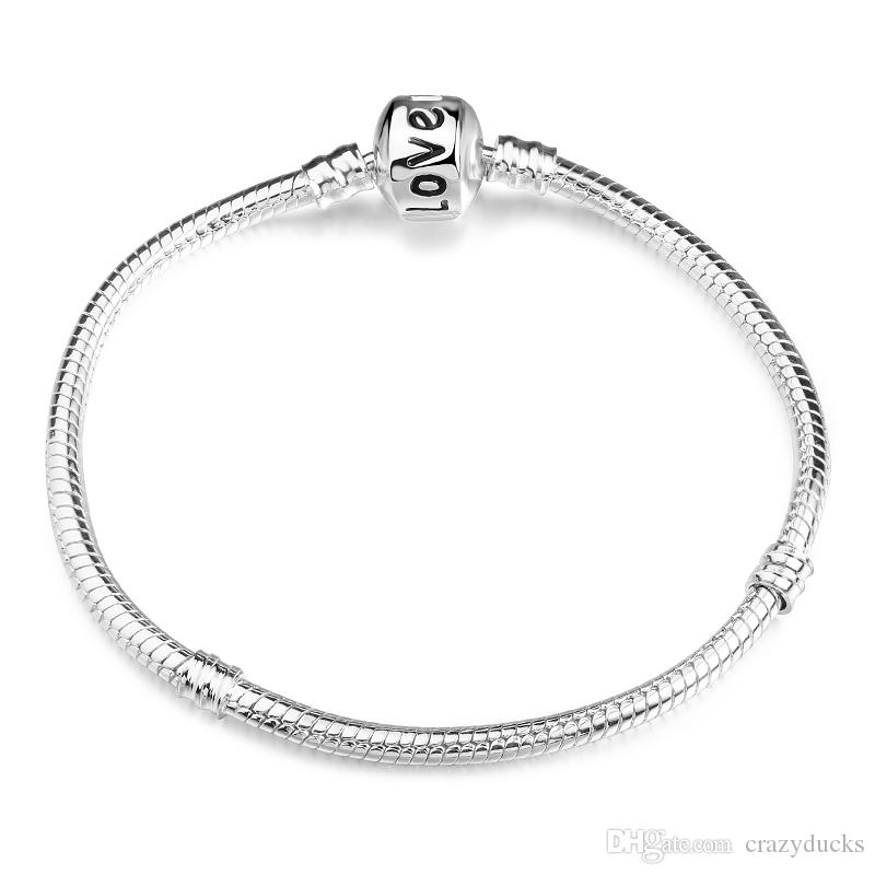New Hot Sells 8 Style 925 Silver LOVE Snake Chain Bracelet & Bangle 17CM-21CM Pulseras Lobster for Beads