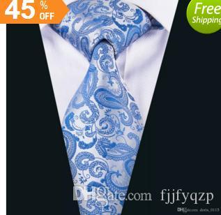 Acheter Bleu Paisley Neckie Gros Pas Cher Soie Cravate Mouchoirs