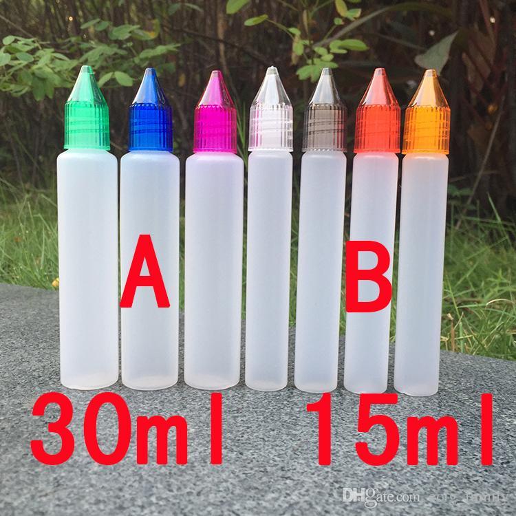 stylo style licorne e bouteilles liquides long mince 15 ml 30 ml PE Pet Dropper e jus Bouteilles avec bouteille pour enfants preuve pour e-liquide DHL