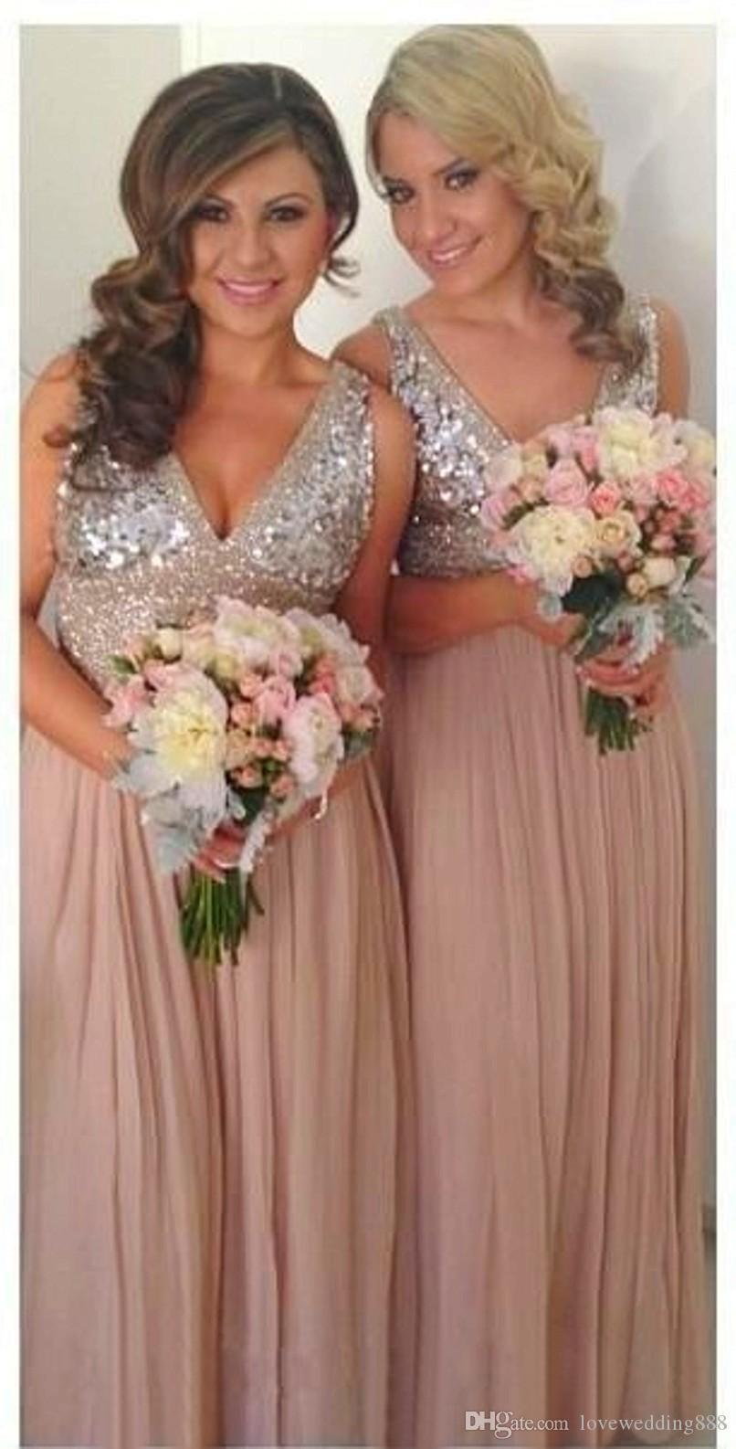 Lantejoulas Chiffon V Neck Vestidos dama de honra Plus Size Rose Gold Sparkly Maid of Bridal Party Honra Vestidos de casamento Maternidade Custom Made