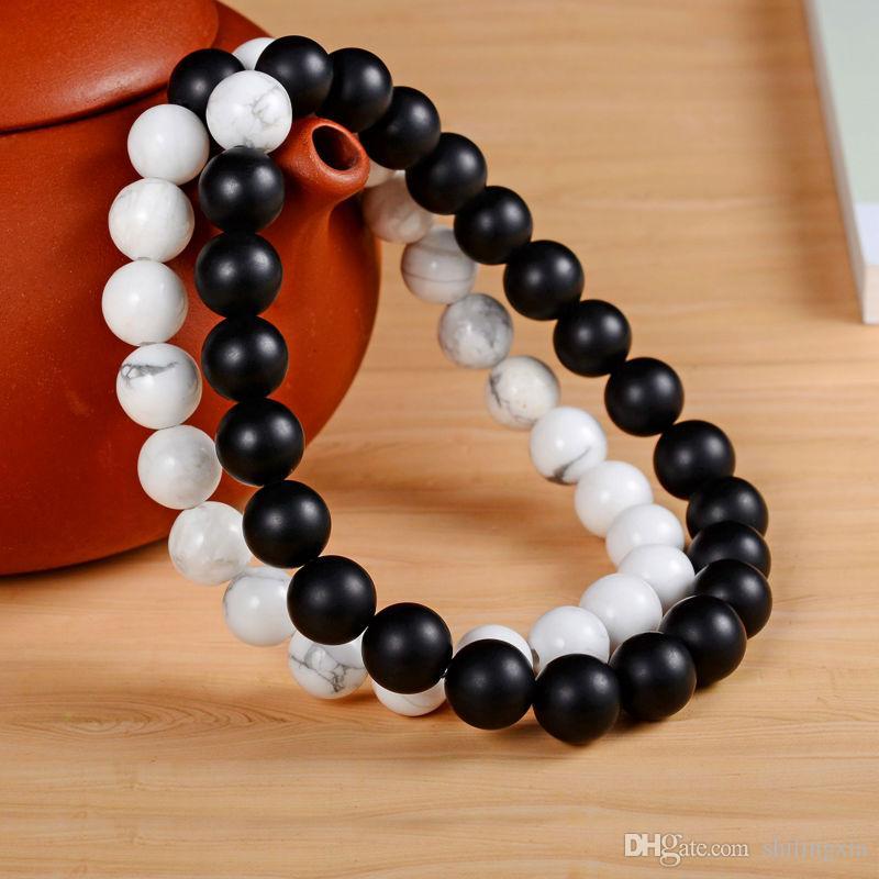 c5f8334f6f7c 2 Unids / set Parejas Distancia Pulsera con 100% Piedra Natural Blanco y  Negro Yin Yang Pulseras para Hombres Mujeres Mejor Amigo