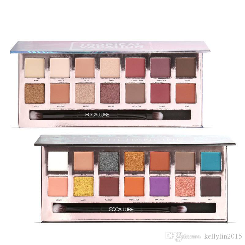 Eyeshadow Palette FOCALLURE Tropical Vacation Long Lasting Natural Shimmer Matte Makeup Eye shadow Palettes with brush