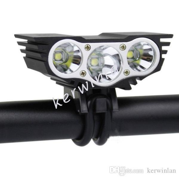 Solarstorm Black / Red 3x Cree XM-L U2 T6 Head LED Front Rower Rower Light Reflektor Lampa Światła Reflektor z ładowarką 6400mAh
