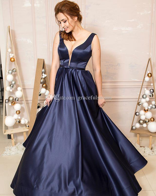Navy Blue Satin A-Line Prom Dresses Long Sweetheart Tank Elegant Long Evening Party Dresses Open Back Evening Gowns