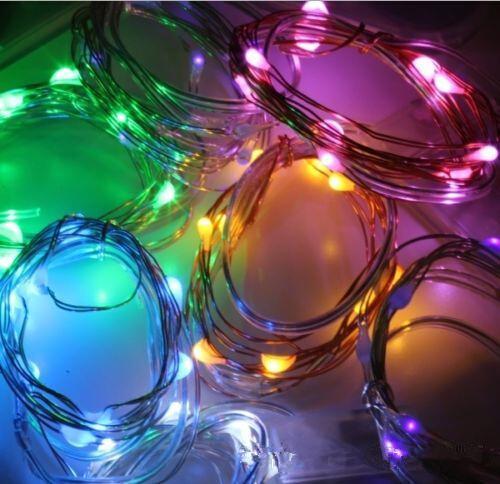 2M 20LEDs conduit la chaîne à piles CR2032 bandes Micro Mini Lumière Argent Cuivre Fil Starry LED pour Noël décoration d'Halloween