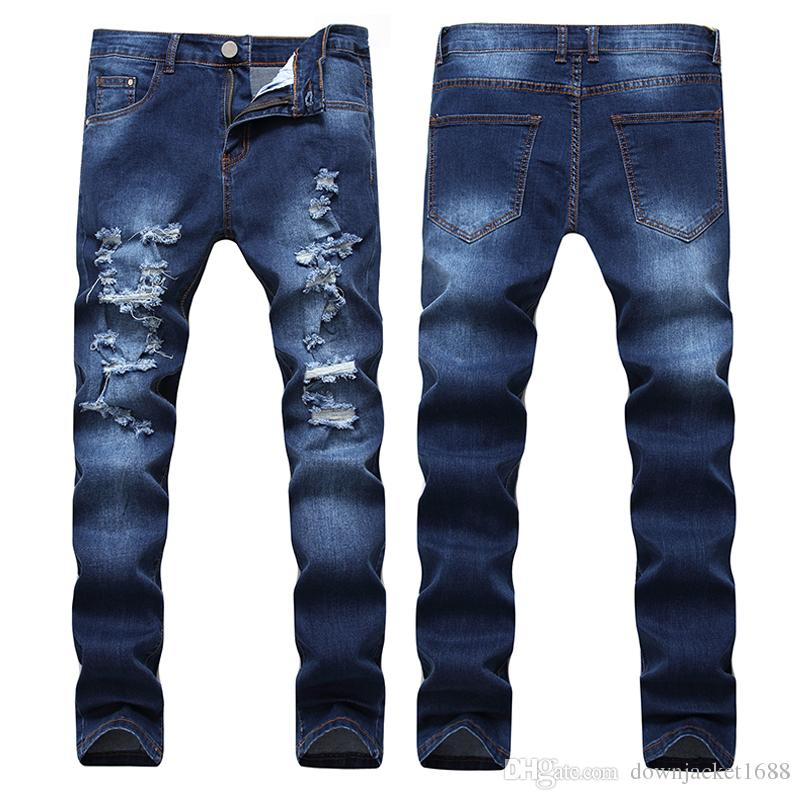 aafbc54f180bb7 2019 Kanye West Knee High Street Ripped Jeans Europe And The Tide Male Feet  Hip Hop Elastic Cultivate One S Morality Pants Jeans From Downjacket1688