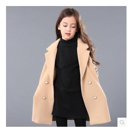 9e599c33b366 Girls Autumn Woolen Coat in the Long Section of Korean Children in a ...