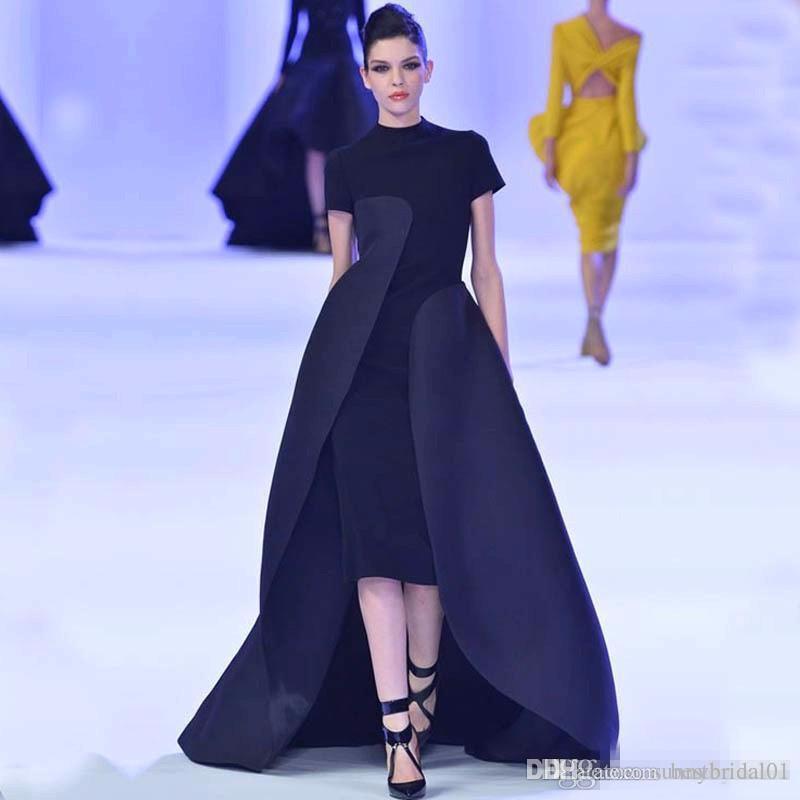 Unique High Neck Evening Dressess Tea Length 2017 Black Formal ...