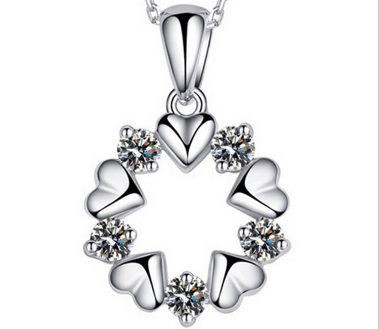 Europe and America 925 sterling silver pendant sun flowers shape crystal vintage fashion woman jewelry