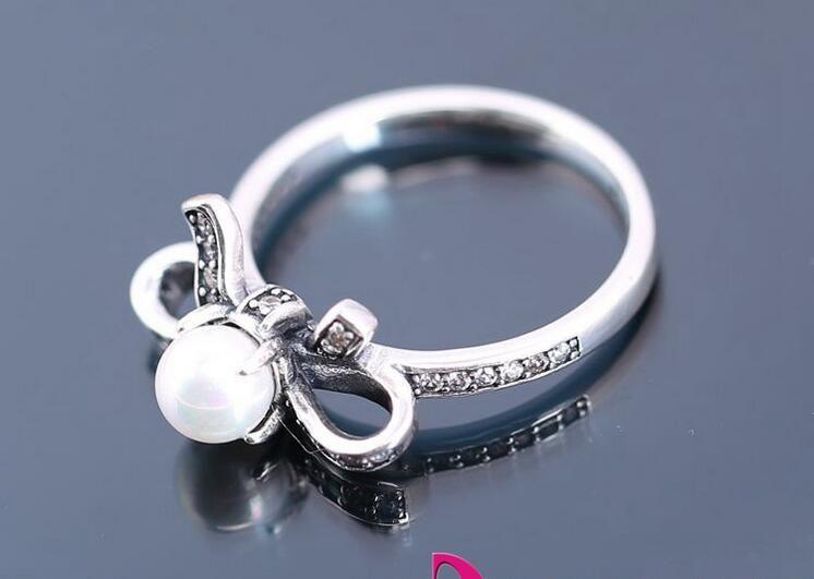 2016 новые лук серебряное кольцо с жемчугом и ясно цирконий аутентичные стерлингового серебра 925 кольца, пригодный для pandora подвески ювелирные изделия женщины