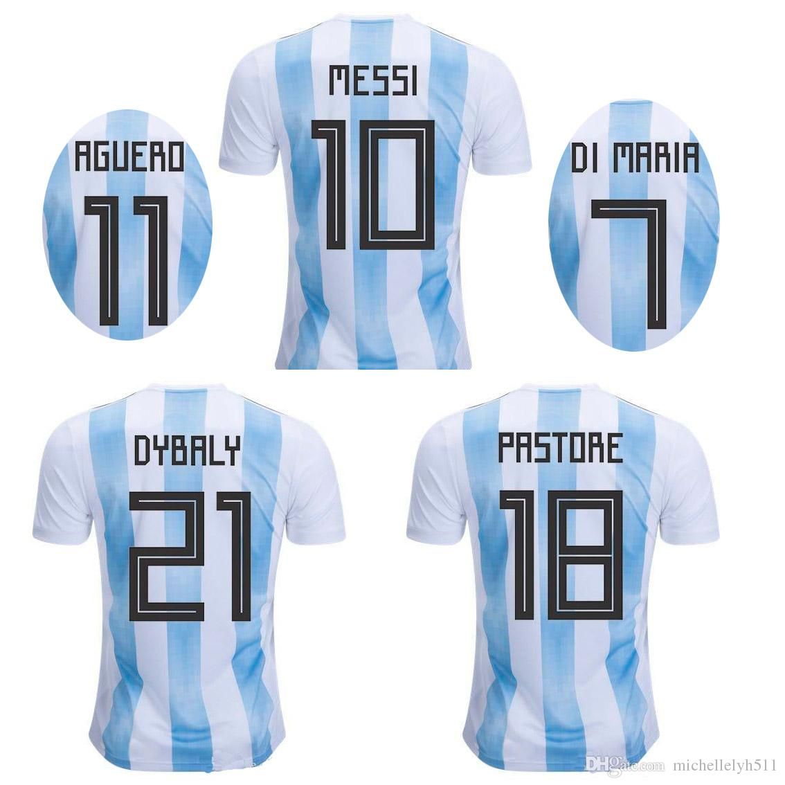 a6fdf8fc6c5 2019 Argentina Home Soccer Jerseys MESSI Icardi DYBALA DI MARIA 2018 World  Cup Football Shirts AFA Top Thai Quality Camiseta De Futbot Sportwears From  ...