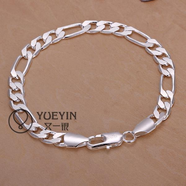 Cool Men's Bracelets jewelry 925 Silver plated 8MM FIGARO CHAIN BRACELET SILVER BRACELET JEWELRY FREE SHIPPING