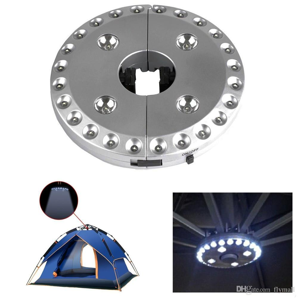 28 LEDs Outdoor Patio Umbrella Pole Light Camping Tent Lamp Pole Mounted or Hung Anywhere, Battery Operated Portable Lamp Silver Patio Light